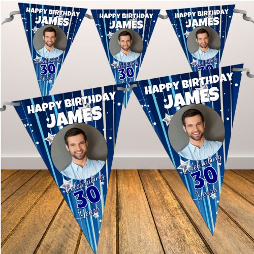 Personalised Blue Stars & Stripes Happy Birthday Flag PHOTO Bunting Banner - N25